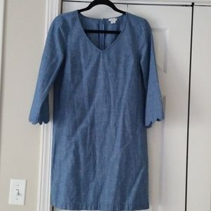 J. Crew Factory chambray scallop sleeve dress 8